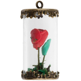 Rose In Glass Jar Pendant