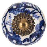 Blue & White Floral Round Knob