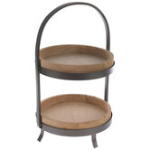 Black & Natural Two-Tiered Wood Tray