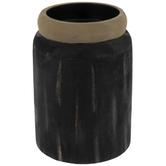 Black Log Wood Candle Holder - Small
