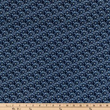Navy Bandana Paisley Cotton Calico Fabric
