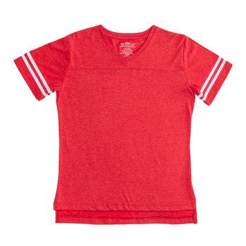 Red & White Baseball V-Neck Adult T-Shirt - Extra Small