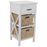White Wood Side Table With Baskets