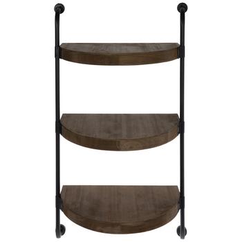 Half Circle Three-Tiered Wood Wall Shelf