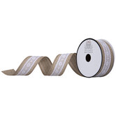 """White Linen Look & Lace Wired Edge Ribbon - 1 1/2"""""""