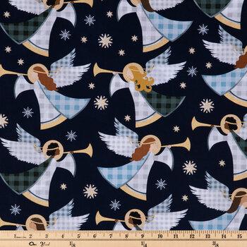 Gray, Blue & Green Buffalo Check Angels Cotton Fabric