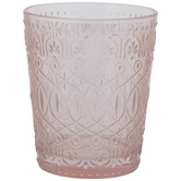 Pink Embossed Glass Candle Holder