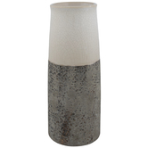 Cream & Gray Two-Tone Crackled Vase