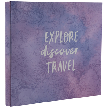 "Explore Discover Travel Post Bound Scrapbook Album - 8"" x 8"""