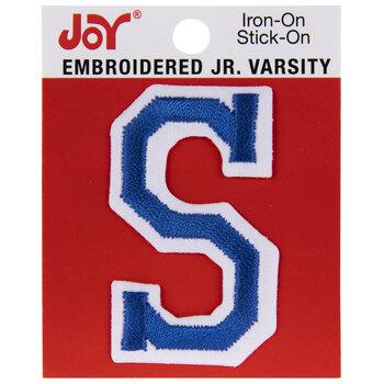 "Blue Junior Varsity Letter Iron-On Applique S - 2"""