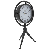 Black Old Town Tripod Metal Clock