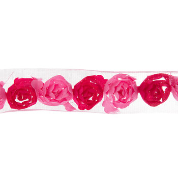"Pink Two-Tone Rose Trim - 3/4"""