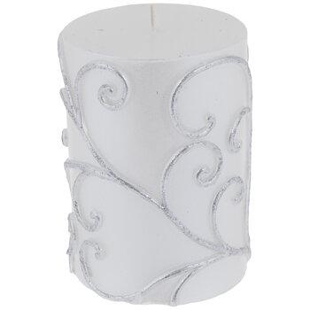 White & Silver Glitter Swirl Pillar Candle