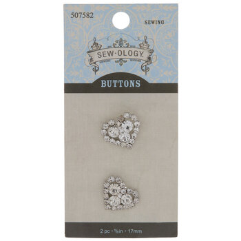Heart Rhinestone Shank Buttons - 17mm