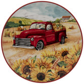 Red Truck & Sunflowers Plate