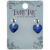 Blue Rhinestone Heart Charms