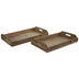 Brown Rectangle Wood Tray Set