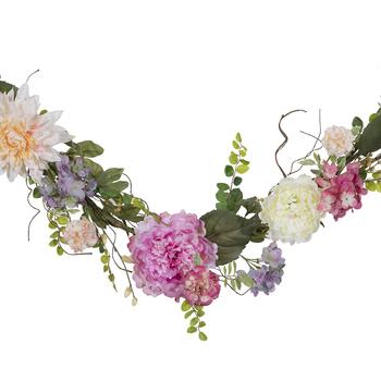 Pink Hydrangea & Dahlia Mixed Garland