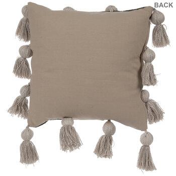 Green & Tan Fringe Pillow