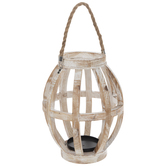 Whitewashed Wood Lantern Candle Holder