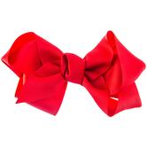 """Red Grosgrain Bow Hair Clip - 6"""""""