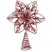 Red Glitter Star Metal Tree Topper