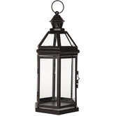 Black Hexagonal Metal Lantern