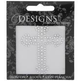 Silver Cross Rhinestone Iron-On Applique