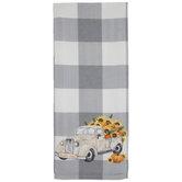 Pumpkin Truck Buffalo Check Kitchen Towel