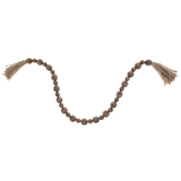 Dark Brown Beaded Garland With Tassels