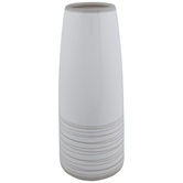 White & Gray Striped Cylinder Vase