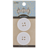 White Round Buttons - 28mm