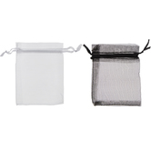 """Black & White Organza Bags - 3"""" x 4"""""""