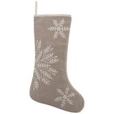 Beige Stocking With White Snowflakes