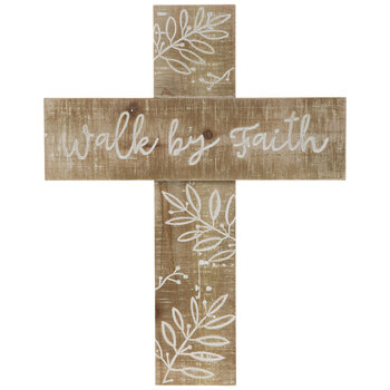 Walk By Faith Wood Wall Cross
