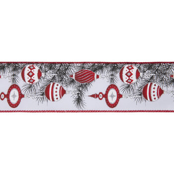 """White & Red Ornament Wired Edge Ribbon - 2 1/2"""""""
