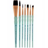 Black Taklon Paint Brushes - 7 Piece Set