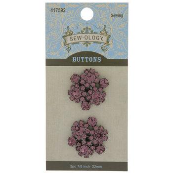 Light Amethyst Rhinestone Flower Shank Buttons - 22mm