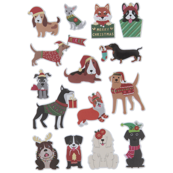 Christmas Dogs Puffy Stickers