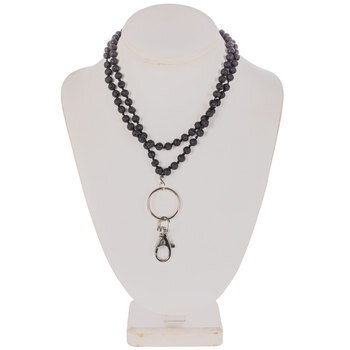 Black Knotted Lava Bead Lanyard