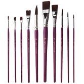 Purple Taklon Acrylic & Watercolor Paint Brushes - 10 Piece Set