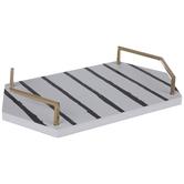 White & Black Striped Wood Tray