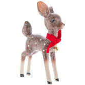 Frosted Standing Deer With Red Bow