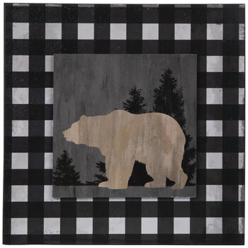 Buffalo Check Bear Wood Wall Decor