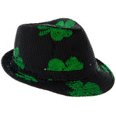 Black & Green Light Up Shamrock Fedora