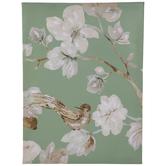 Green Bird & Flowers Canvas Wall Decor