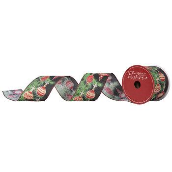 "Pine & Glitter Ornaments Wired Edge Ribbon - 2 1/2"""