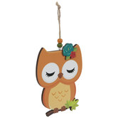 Owl With Flower Wood Ornament