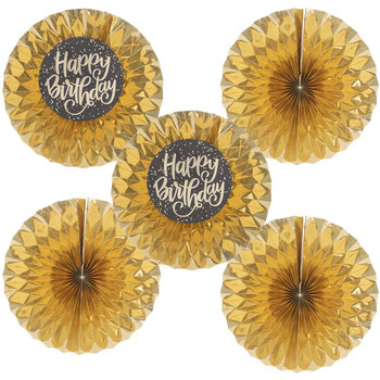 Gold Holographic Happy Birthday Paper Fans