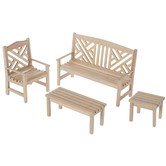 Miniature Unfinished Garden Furniture